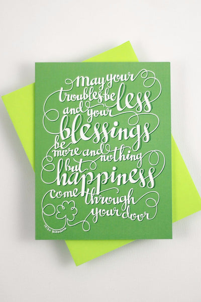 Card - Irish blessing - May your troubles be less - howjoyfulshop