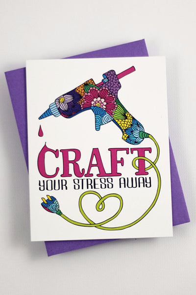Card - Craft your stress away card - one card with purple envelope - howjoyfulshop