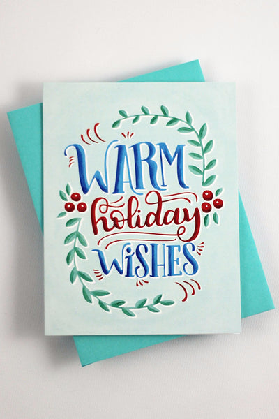 Card - warm holiday wishes - howjoyfulshop