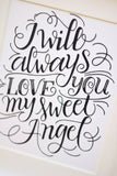Art print - I will always love you my sweet Angel - howjoyfulshop