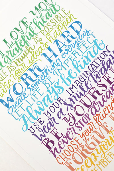Art print - Rainbow wishes - Family rules - howjoyfulshop