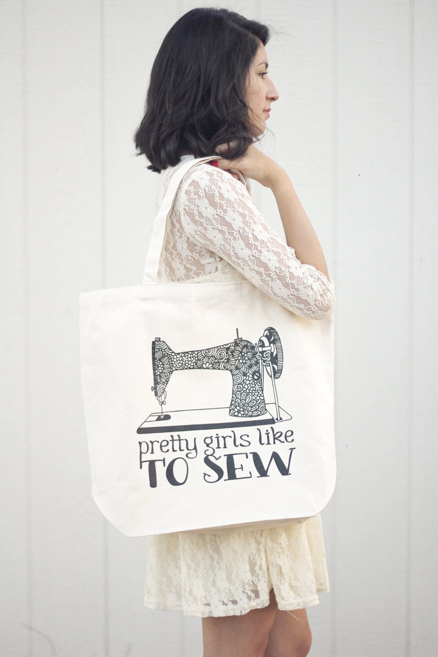 Big Tote bag - Pretty girls like to sew - howjoyfulshop