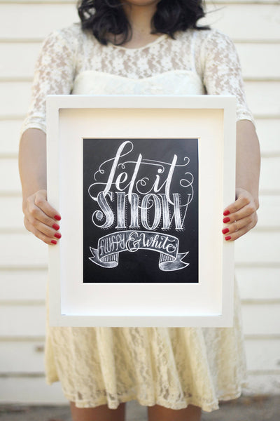 "Art print - 8x10"" Let it snow, Fluffy and White - howjoyfulshop"
