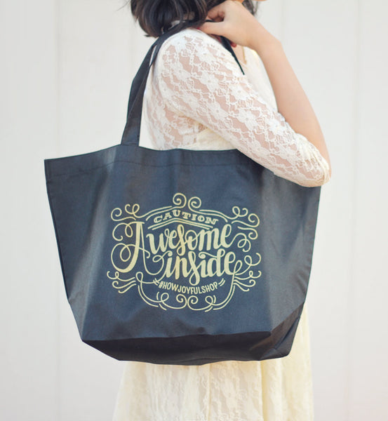 Merchandise tote - Caution Awesome Inside - Reusable Non-Woven Tote - howjoyfulshop