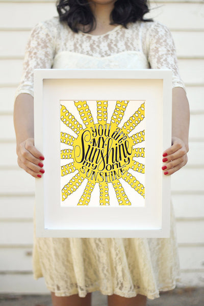 Art print - You are my sunshine, my only sunshine - howjoyfulshop