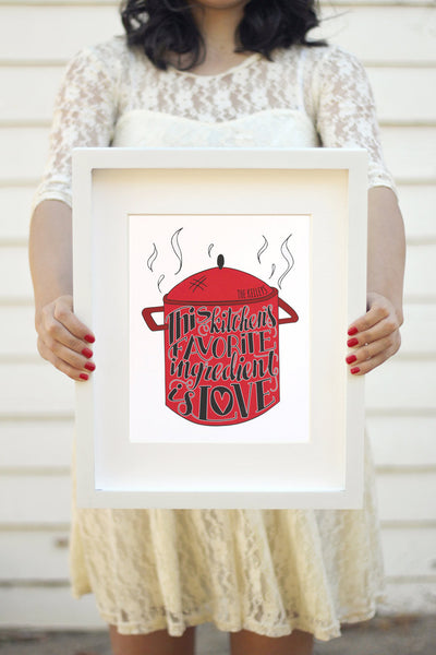 Art print - This kitchen's favorite ingredient is love - howjoyfulshop