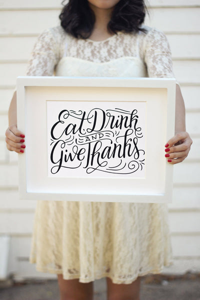Art print - Eat, Drink and Give Thanks - howjoyfulshop