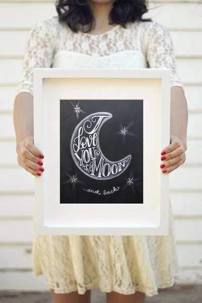 "Art print - 8x10"" I love you to the Moon and back - howjoyfulshop"
