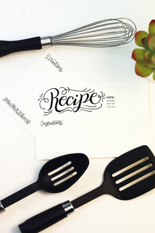 Recipe card set - Recipe lettered -  10 double sided cards - howjoyfulshop