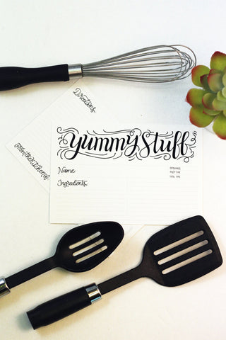 Recipe card set - Yummy stuff -  10 double sided cards - howjoyfulshop