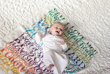 Load image into Gallery viewer, Rainbow wishes swaddle - Organic cotton - LAP SIZE - SALE - howjoyfulshop