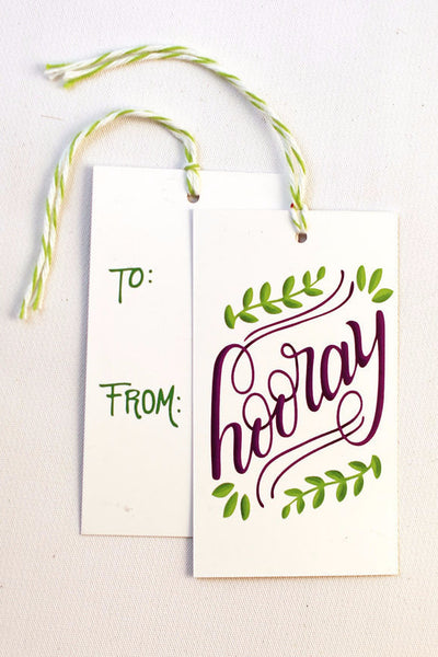 gift tag - Hooray - Set of 10 with twine - howjoyfulshop