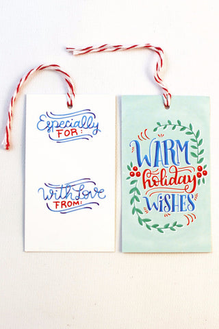 gift tag - Warm wishes - Set of 10 with twine - howjoyfulshop