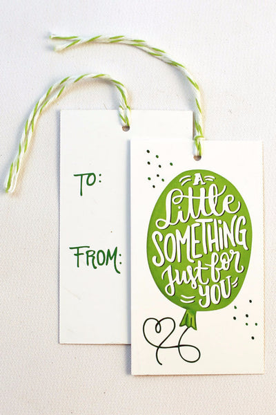 gift tag - Little something - Set of 10 with twine - howjoyfulshop