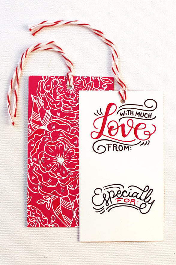 gift tag - With Love - Set of 10 with twine - howjoyfulshop