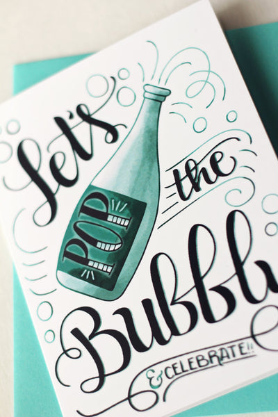 Card - Lets pop the bubbly and celebrate - howjoyfulshop