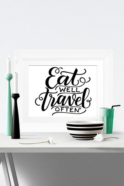 Art print - Eat well, travel often - howjoyfulshop