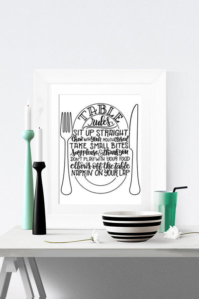 Art print - Table rules - howjoyfulshop