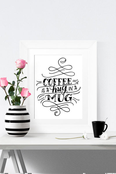 Art print - Coffee is a hug in a mug - howjoyfulshop