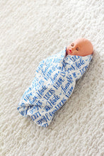 Load image into Gallery viewer, Personalized Swaddle - Hand-lettered name in one color - howjoyfulshop