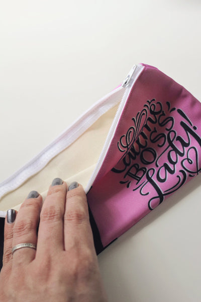 Pencil case - Call me boss lady! - pink and black pouch - howjoyfulshop