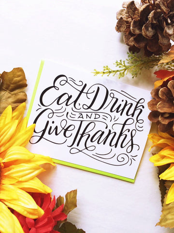 Card - Eat, drink and give thanks - howjoyfulshop