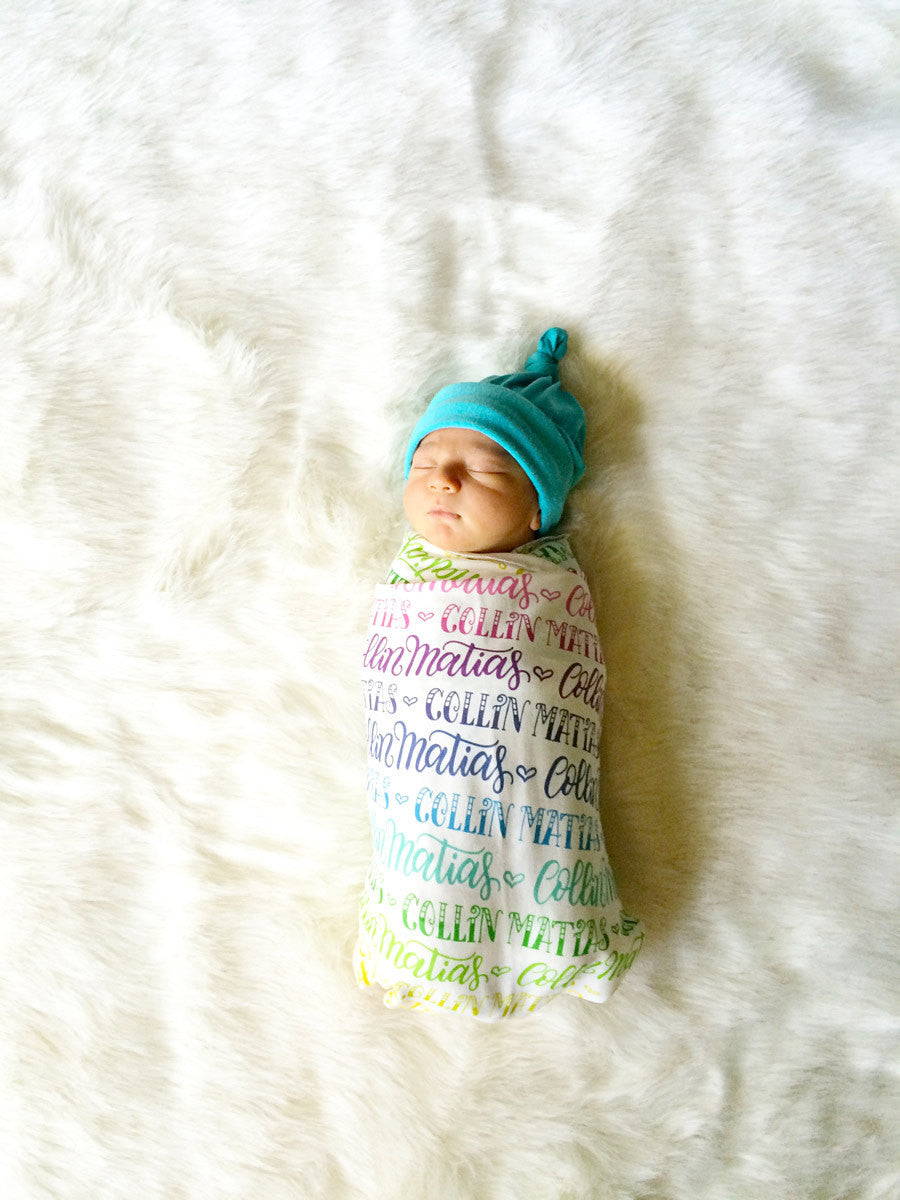Rainbow Baby Personalized Swaddle Rainbow Color Birth