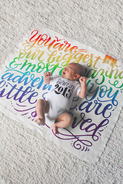 RAINBOW COLOR swaddle - You are our biggest and most amazing adventure - howjoyfulshop