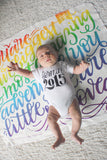 Swaddle - You are our biggest and most amazing adventure - Rainbow color - howjoyfulshop