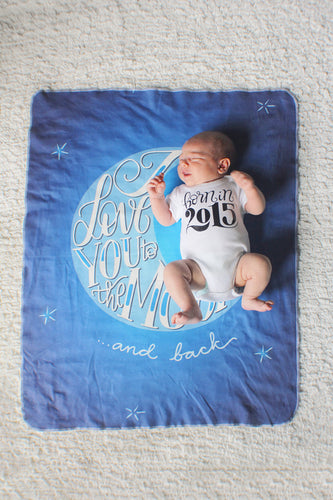 Swaddle - Organic cotton - LAP SIZE - I love you to the moon and back - SALE - howjoyfulshop