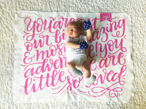 CUSTOM COLOR swaddle - You are our biggest and most amazing adventure - howjoyfulshop