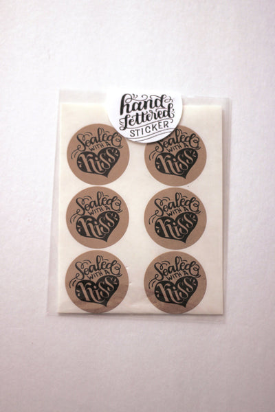 Set of 12 Kraft Stickers - Sealed with a kiss - howjoyfulshop