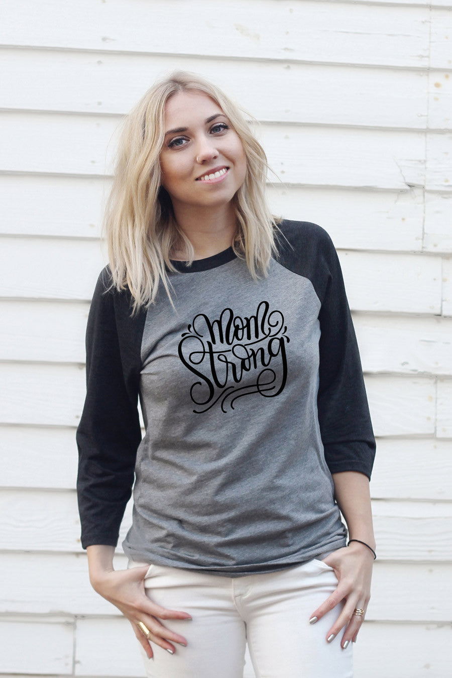 Baseball tee - Mom strong - SALE - howjoyfulshop