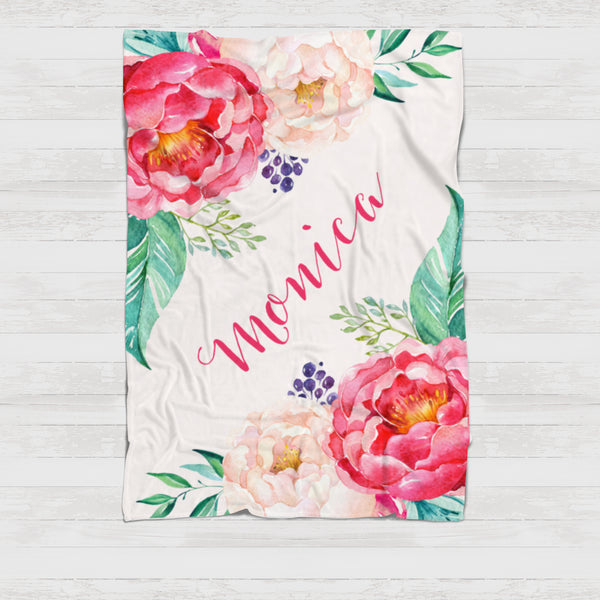 Fleece Blanket - Big peony blooms - howjoyfulshop