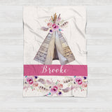 Fleece Blanket - Pink teepee watercolor flowers - howjoyfulshop