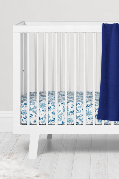 Crib sheet - Nautical pattern with custom color - howjoyfulshop