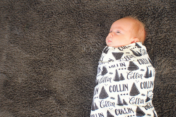 CUSTOM NAME Swaddle - Pine forest