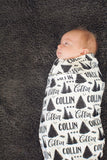 Personalized Swaddle - Pine forest in custom color