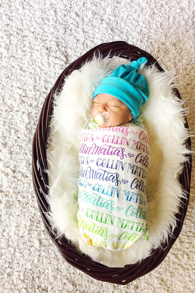 CUSTOM NAME Swaddle - Rainbow color - Birth announcement - howjoyfulshop