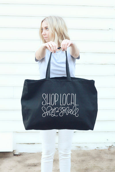 Big tote bag black - Shop local, shop small - howjoyfulshop