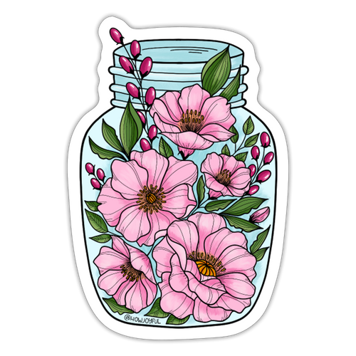 Pink flower jar - Sticker - white matte