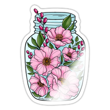 Load image into Gallery viewer, Pink flower jar - Sticker - white glossy