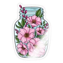 Load image into Gallery viewer, Pink flower jar - Sticker - transparent glossy
