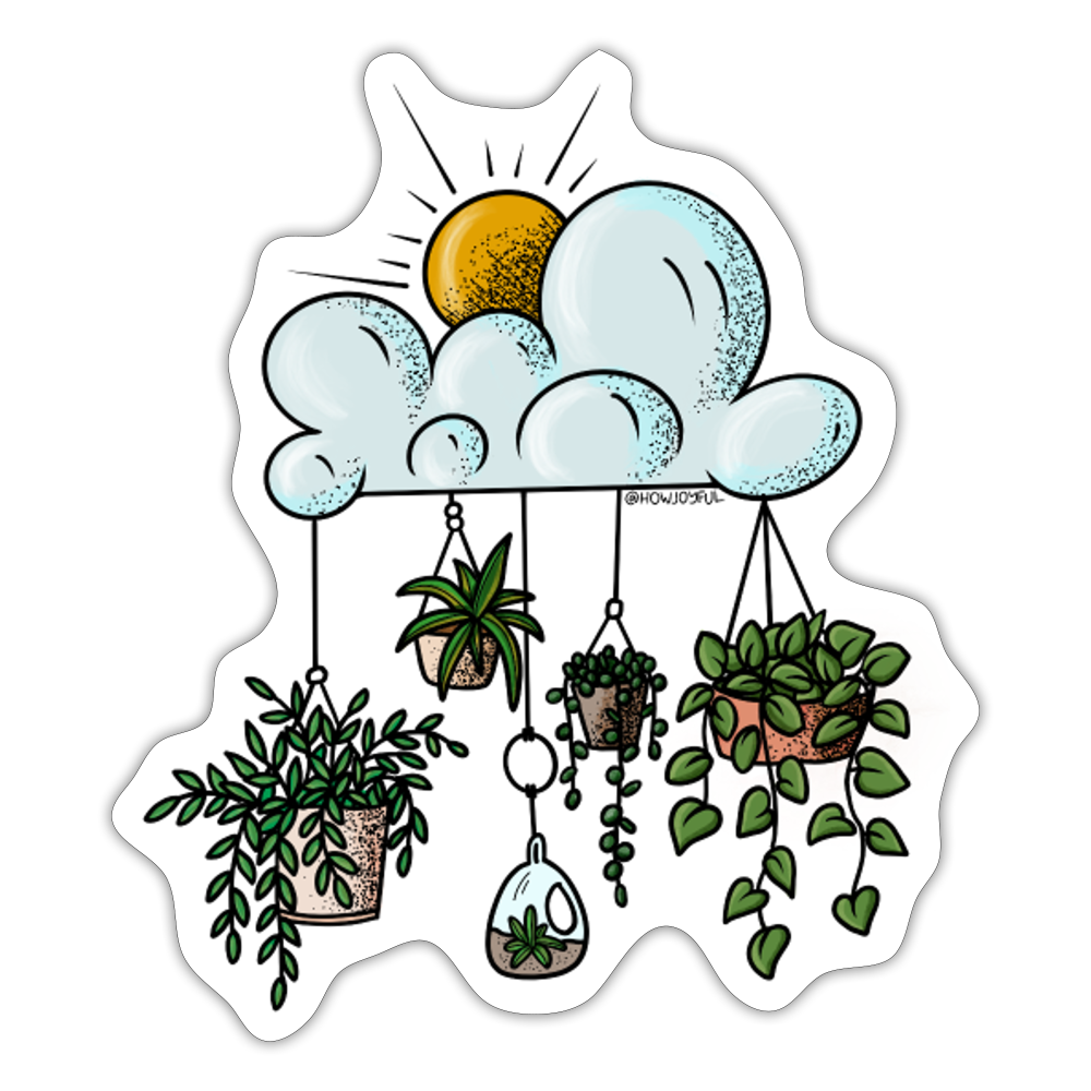 Clouds with hanging pots - Sticker - white matte