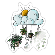 Load image into Gallery viewer, Clouds with hanging pots - Sticker - white glossy