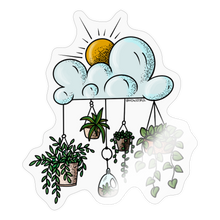 Load image into Gallery viewer, Clouds with hanging pots - Sticker - transparent glossy