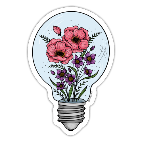 Floral light bulb - Sticker - white matte