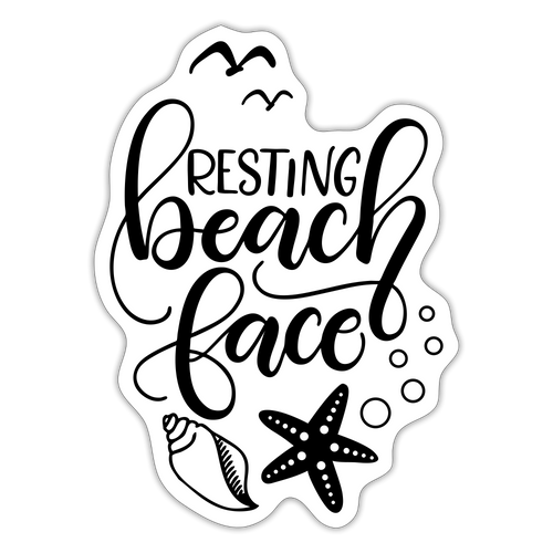 Resting beach face - Sticker - white matte
