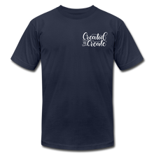 Load image into Gallery viewer, Created to create - Botanical - Unisex Jersey T-Shirt - navy
