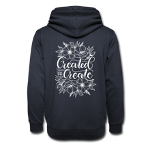 Load image into Gallery viewer, Created to create - Botanical back - Shawl Collar Hoodie - navy